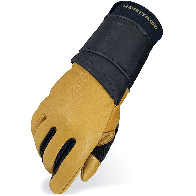07 SIZE LEFT HAND HERITAGE PRO 8.0 BULL RIDING GLOVE DEER SKIN LEATHER TAN