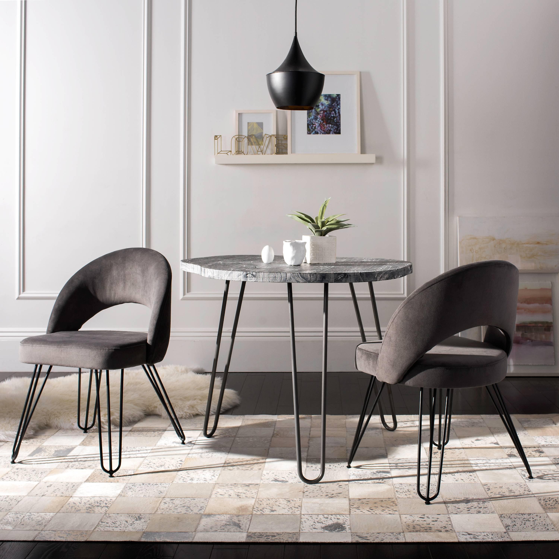Safavieh Jora Velvet Upholstered Retro Dining Chair, Set of ...