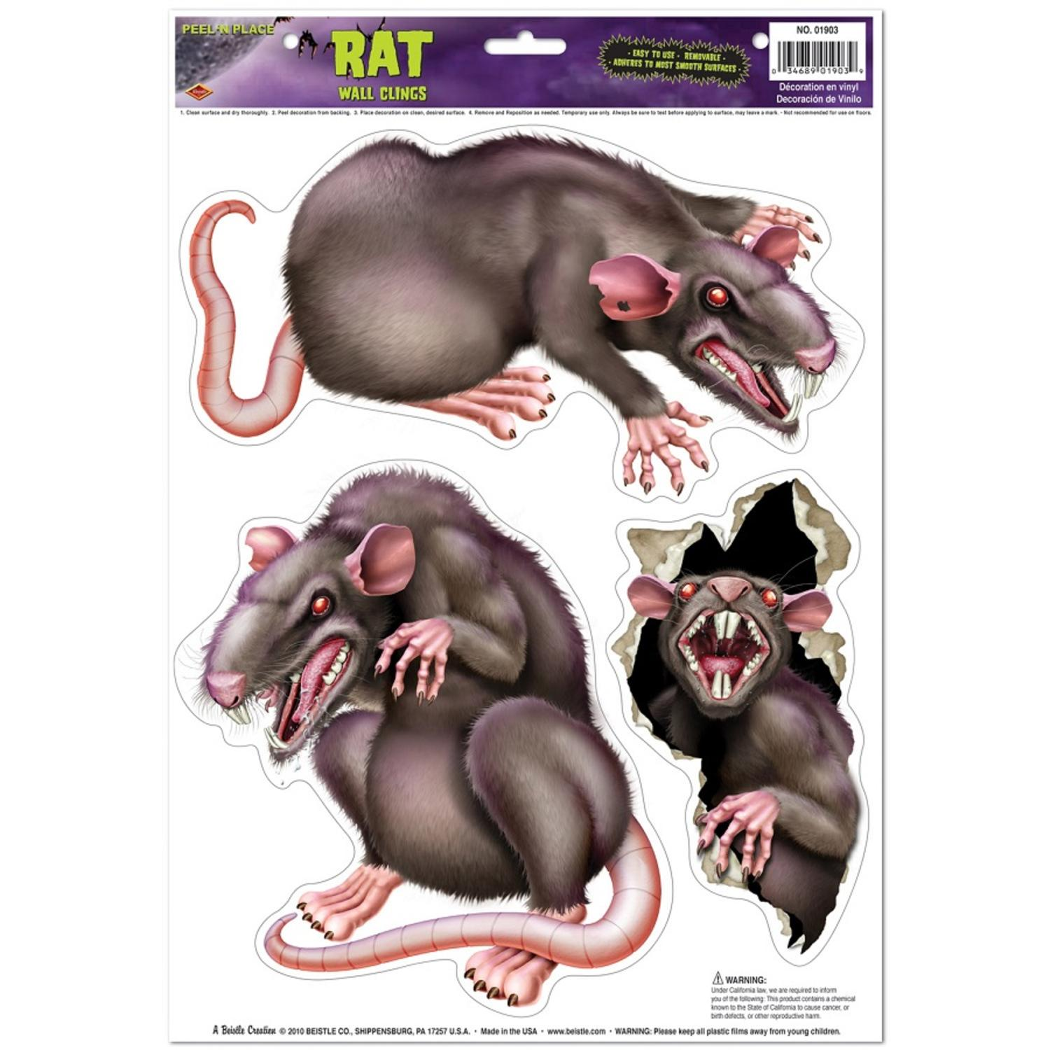 Club Pack of 36 Spooky Vicious Rats Peel 'N Place Halloween Decorations