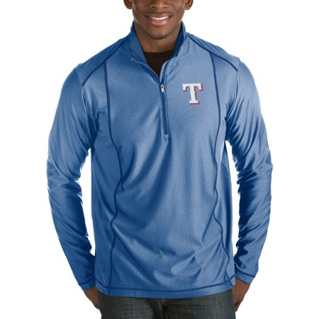 Texas Rangers Antigua Tempo Half-Zip Pullover Jacket - Heathered Royal