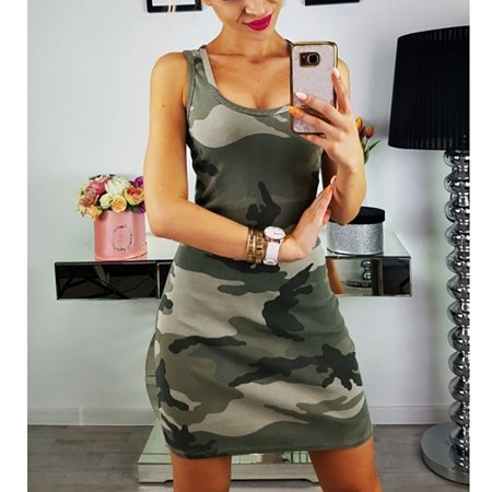 Battle Dress Camouflage (Female Holiday Camouflage Dress Ladies Summer Beach Dress )