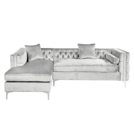 Super Waldorf Silver Velvet Left Sectional Ibusinesslaw Wood Chair Design Ideas Ibusinesslaworg