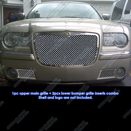 300c Mesh Front Grille - Compatible with 05-10 Chrysler 300C Stainless Mesh Grille Combo Insert R71071U