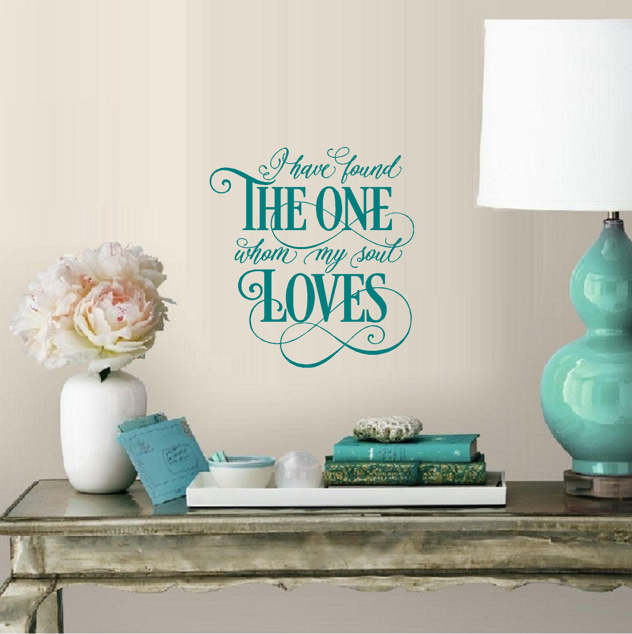 """I have found the one whom my soul Loves: Wall or Window Decal 13"""" x 14"""" Black"""