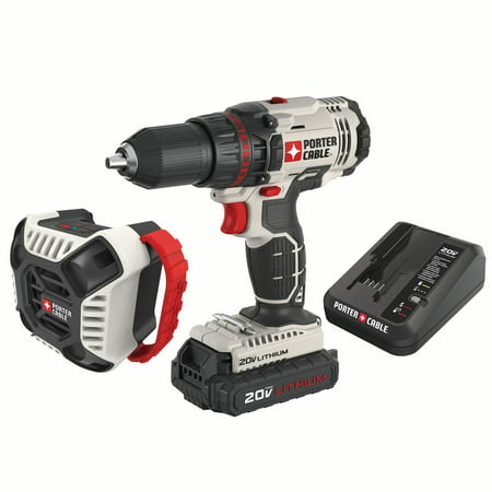 PORTER CABLE PCCK607LA 20V MAX Lithium-Ion 1/2-Inch Cordless Drill and Blue Tooth Radio Combo