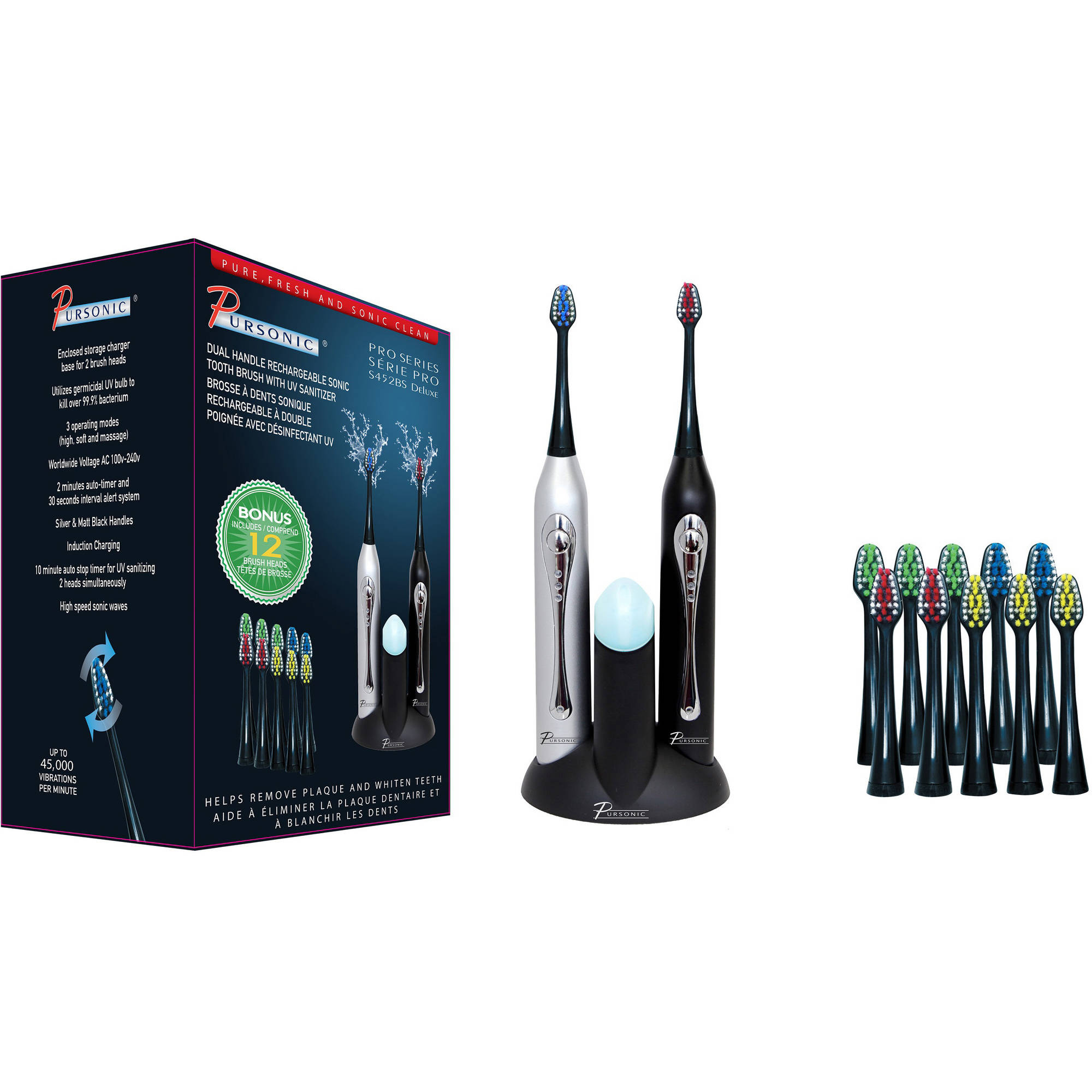 Pursonic Pro Series Deluxe Dual Handle Rechargeable Sonic Toothbrush with UV Sanitizer, S452BS