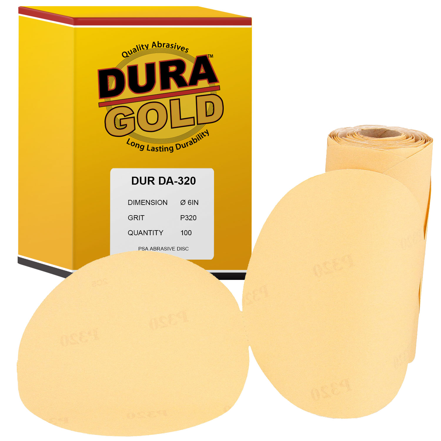 5 Inch Discs On a Roll PSA Gold Adhesive Back DA Sanding Paper 400 Grit 100 Pack