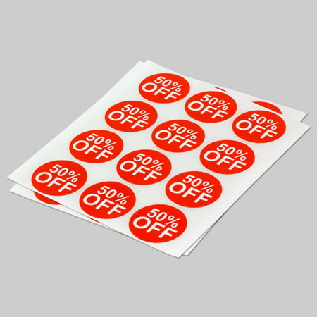 Round 50% Off Stickers (1 inch, 300 Stickers per Roll, Red) for Retail & Sales