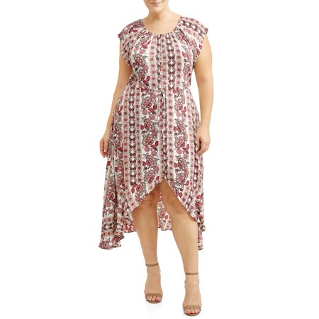 Printed Cross Front Dress - Women's Plus Size Printed Button Front High Low Ruffle Dress