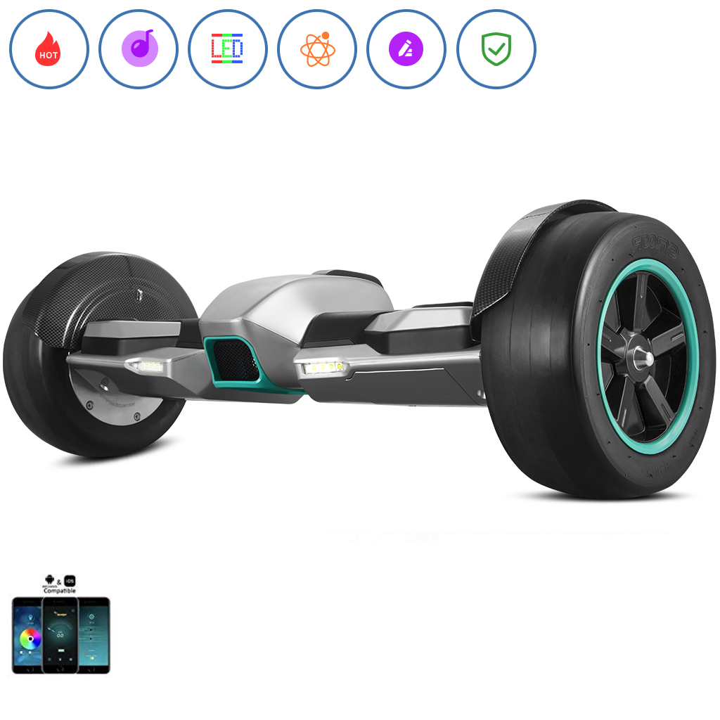 Spadger SS-F100 Racing Hoverboard, BLE Speaker, LED Lights & Smart App Enable, 350W Dual Moters, Racing Roared Accelerating, Detachable Battery, UL 2272 Certificate, Both for Kids & Adults