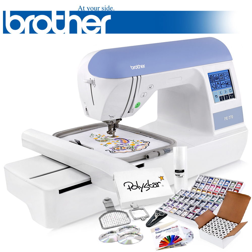 Brother PE770 Embroidery Machine w/ 64 Threads + Bobbins + Cap and Sock Hoop + Stabilizer + 15,000 Designs + Scissors