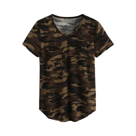 OUMY Women V-neck Camouflage Short Sleeve T-shirt Top (Camouflage Infant T-shirt)