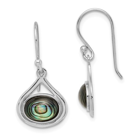 925 Sterling Silver Abalone Shepherd Hook Drop Dangle Chandelier Earrings