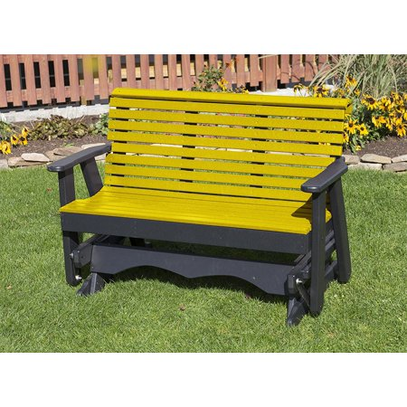 Outdoor Patio Garden Lawn Exterior Yellow Finish 5Ft-Poly Lumber Roll Back Porch Glider Heavy Duty Everlasting -Amish Crafted ()