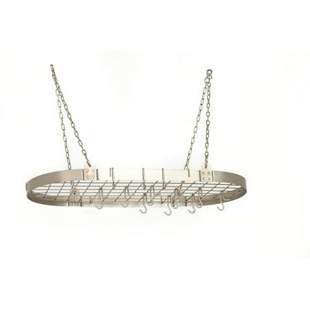 Satin Nickel Medium Gauge Oval Pot Rack with Grid & 12 (Graphite Pot Rack)