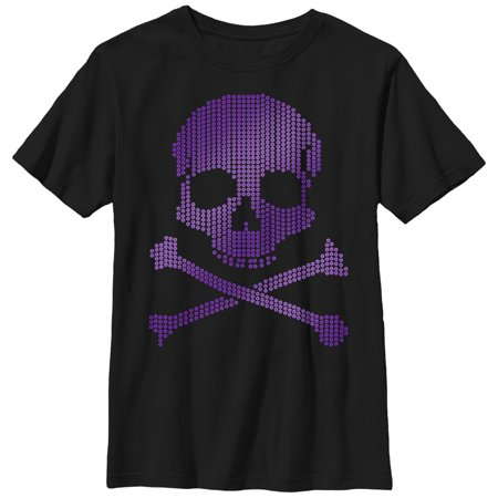 Boys' Halloween Circle Print Skull and Crossbones T-Shirt (Different Types Of Boys On Halloween)
