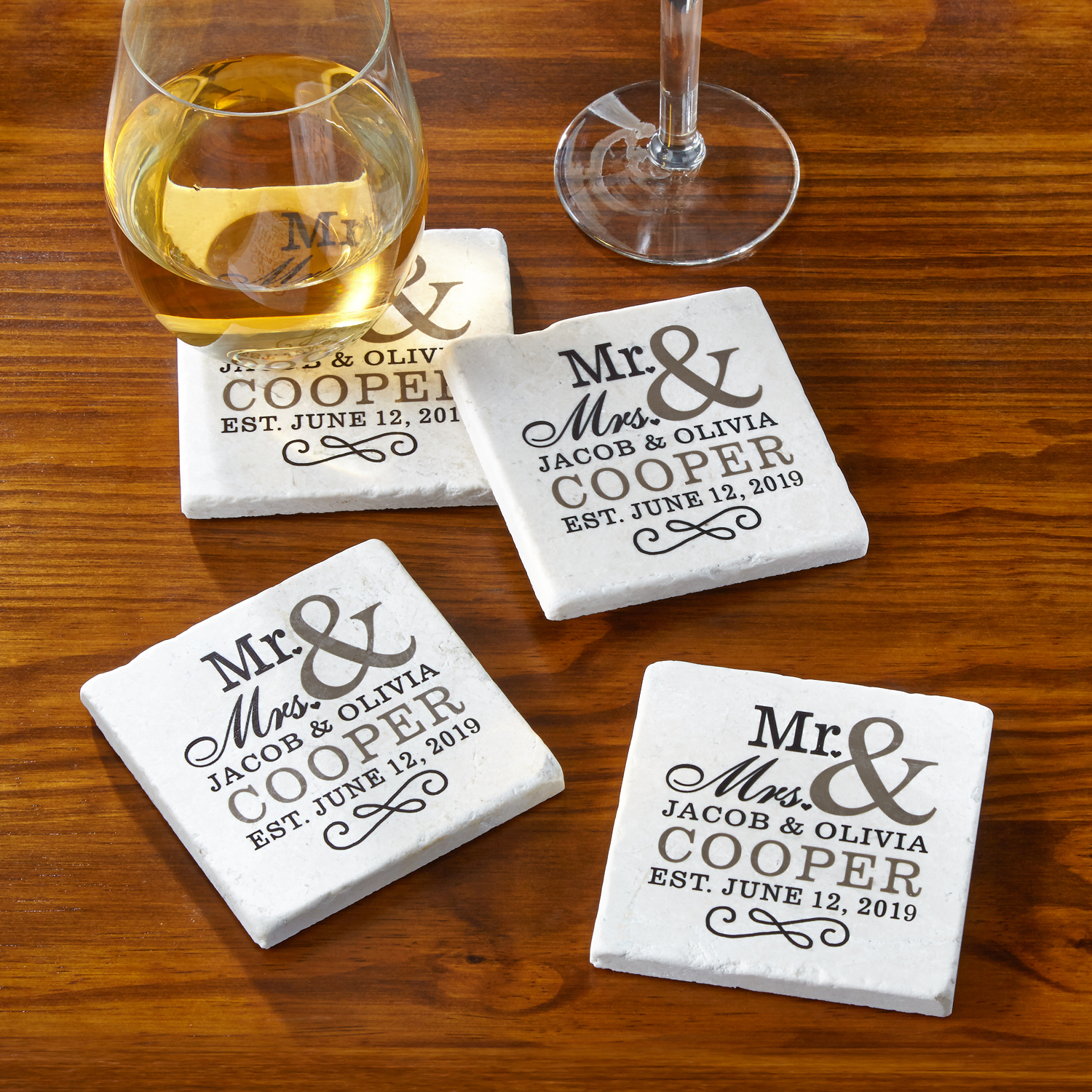 Personalized Mr. and Mrs. Coasters