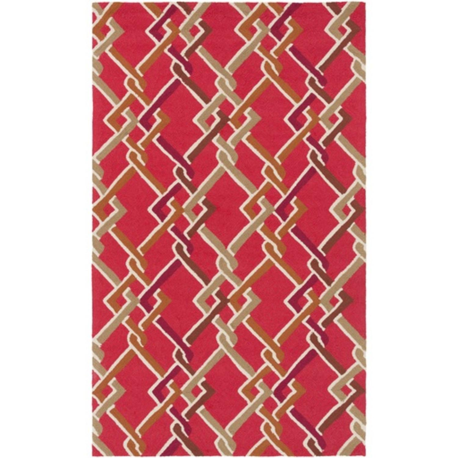 8' x 10' Pleasant Promenade Red, Brown and Beige Hand Hooked Rectangular Outdoor Area Throw Rug