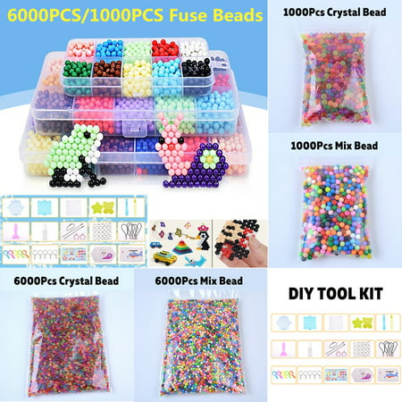 1000/6000 Mix/Crystal Multicolors M agic Bead Fuse Beads Tool Set Water Sticky Beads DIY Refill Water Spray Art Crafts Toys for Kids Adult Childrens Gifts