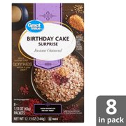 Great Value Birthday Cake Surprise Instant Oatmeal 151 Oz 8 Count Image 1 Out