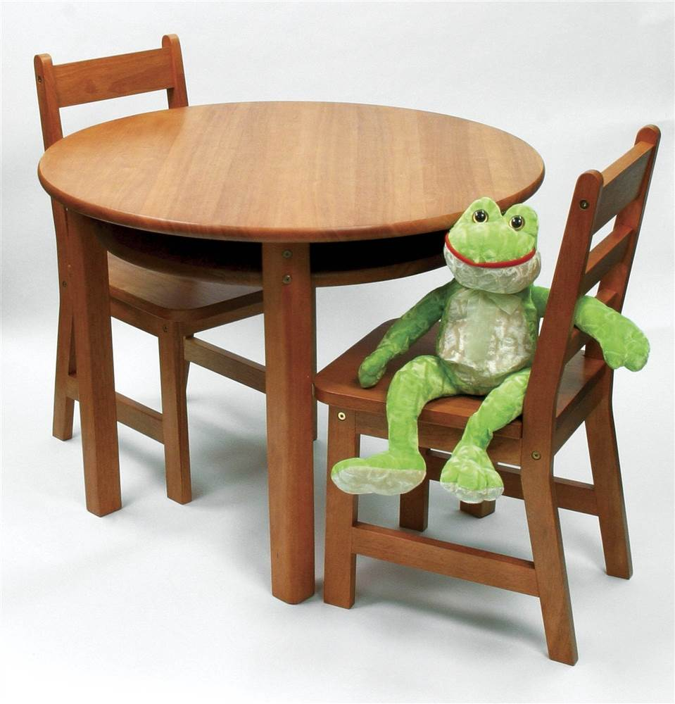 Child's Round Table & 2 Chairs in Pecan Finish