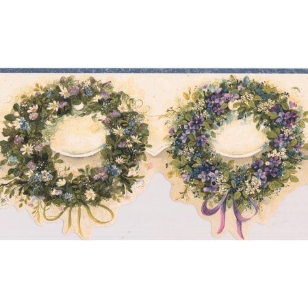 Blue Pink Purple Wreaths Floral Wallpaper Border Retro Design, Roll 15' x 6'' - image 3 of 3
