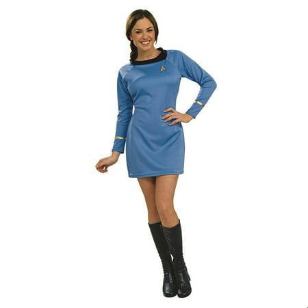 Star Trek Womens Classic Deluxe Blue Dress Adult Halloween Costume - 20 Star Halloween Costumes