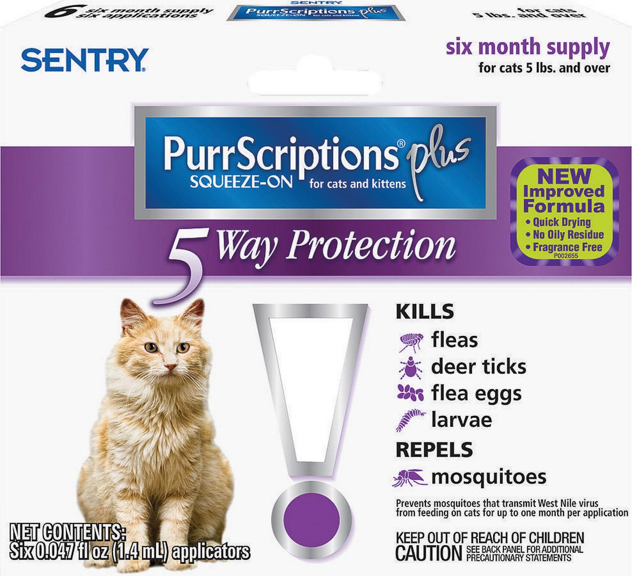 Sentry PurrScriptions Plus Flea and Tick Squeeze-On, 6 Count, Liquid, Clear