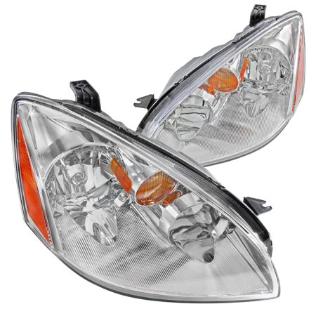 Nissan Altima Euro Headlights (Spec-D Tuning For 2002-2004 Nissan Altima Jdm Chrome Clear Headlights W/ Amber Reflector 02 03 04 (Left + Right) )
