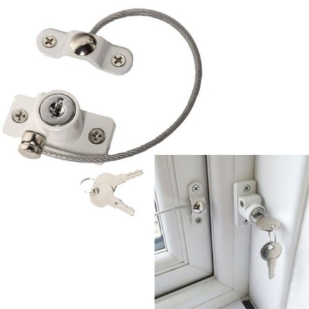 2018 Window Door Security Locking Cable Restrictor Wire Infant Baby Safety Lock Key - image 4 de 5