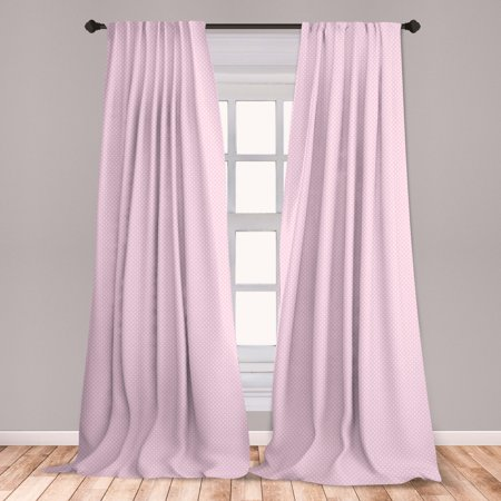 Polka Dots Curtains 2 Panels Set, Tiny Little Retro Polka Dots Vintage Style Bridal Nursery Kids Room Pattern, Window Drapes for Living Room Bedroom, Pink White, by Ambesonne Polka Dot Curtain Panels