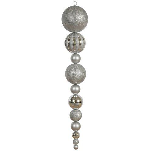 "Vickerman 55"" Silver Shiny/Matte Ball Finial Ornament"