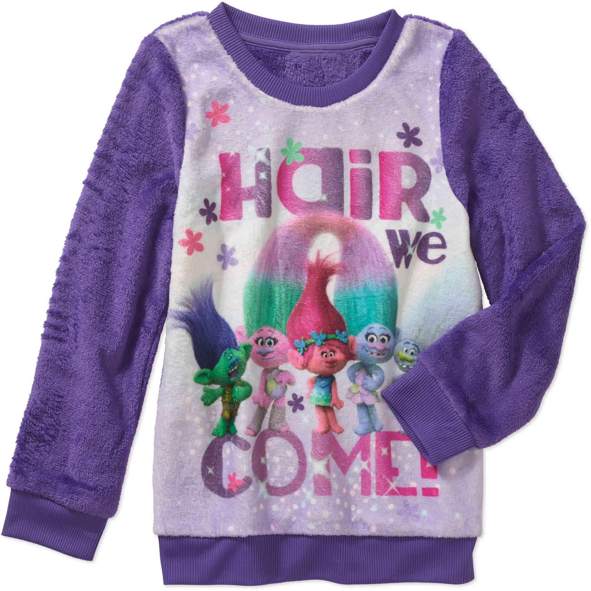 Trolls Girls' Hair we come Minky Sweatshirt