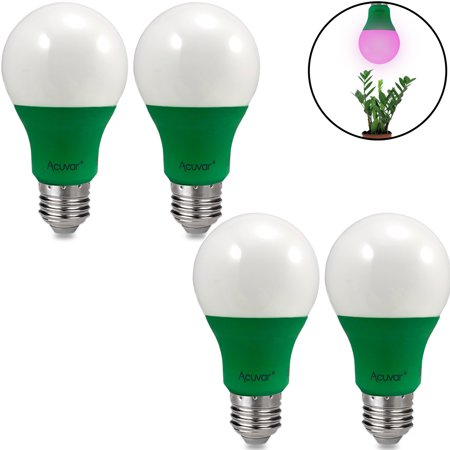 4 Acuvar A19 9W E26 LED Grow Light Bulbs Hydroponic Full Spectrum Enriched Ideal for Budding, Flowering & Vegetative (Best Spectrum For Vegetative Growth)