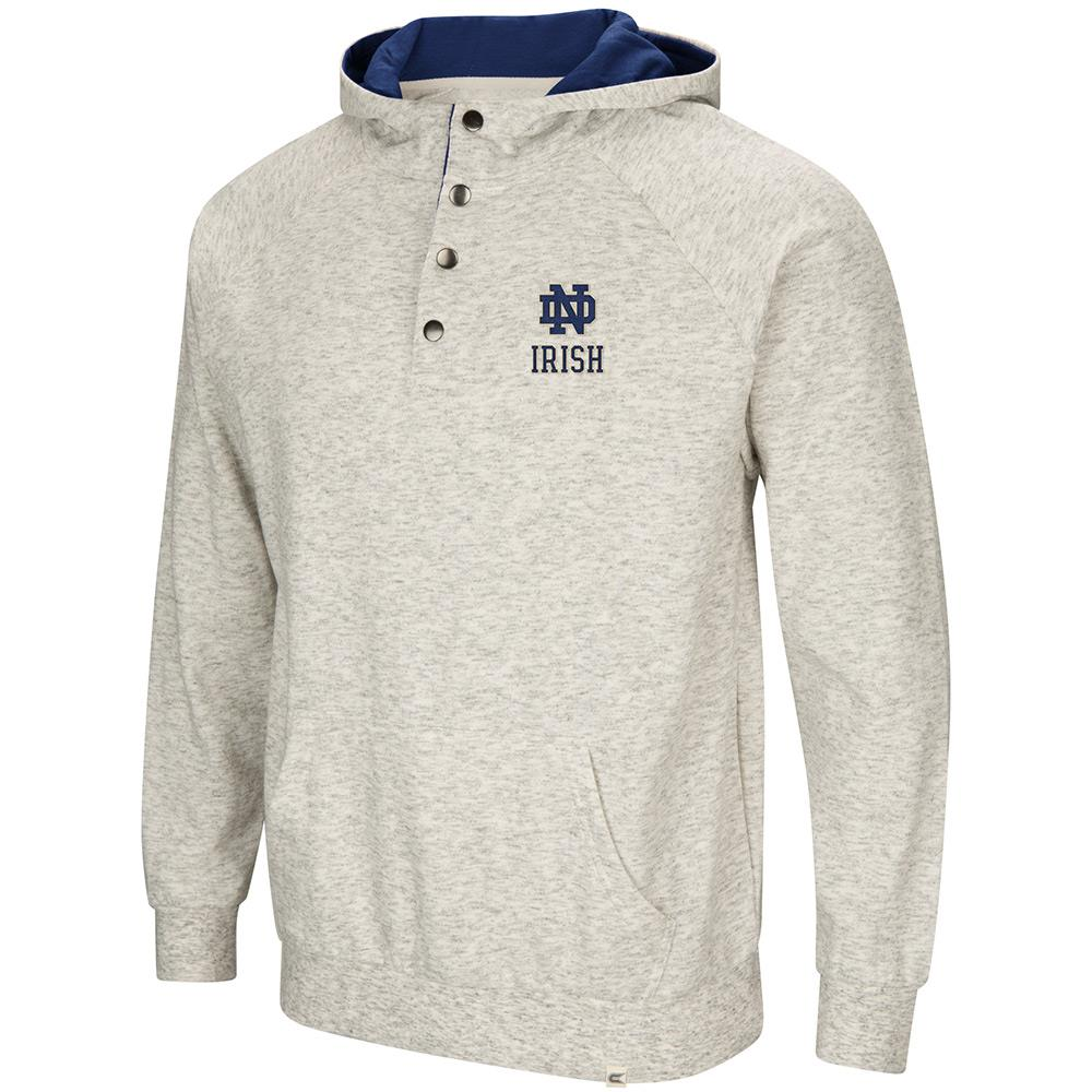 Mens Notre Dame Fighting Irish Henley Fleece Hoodie S by Colosseum