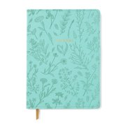 Pen + Gear Large Vegan Leather Journal, Mint Wildflowers, 200 Pages