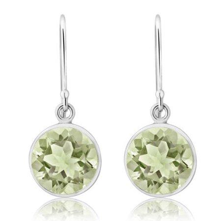 4.00 Ct Round Genuine Green Amethyst Sterling Silver Dangle Earrings 9mm