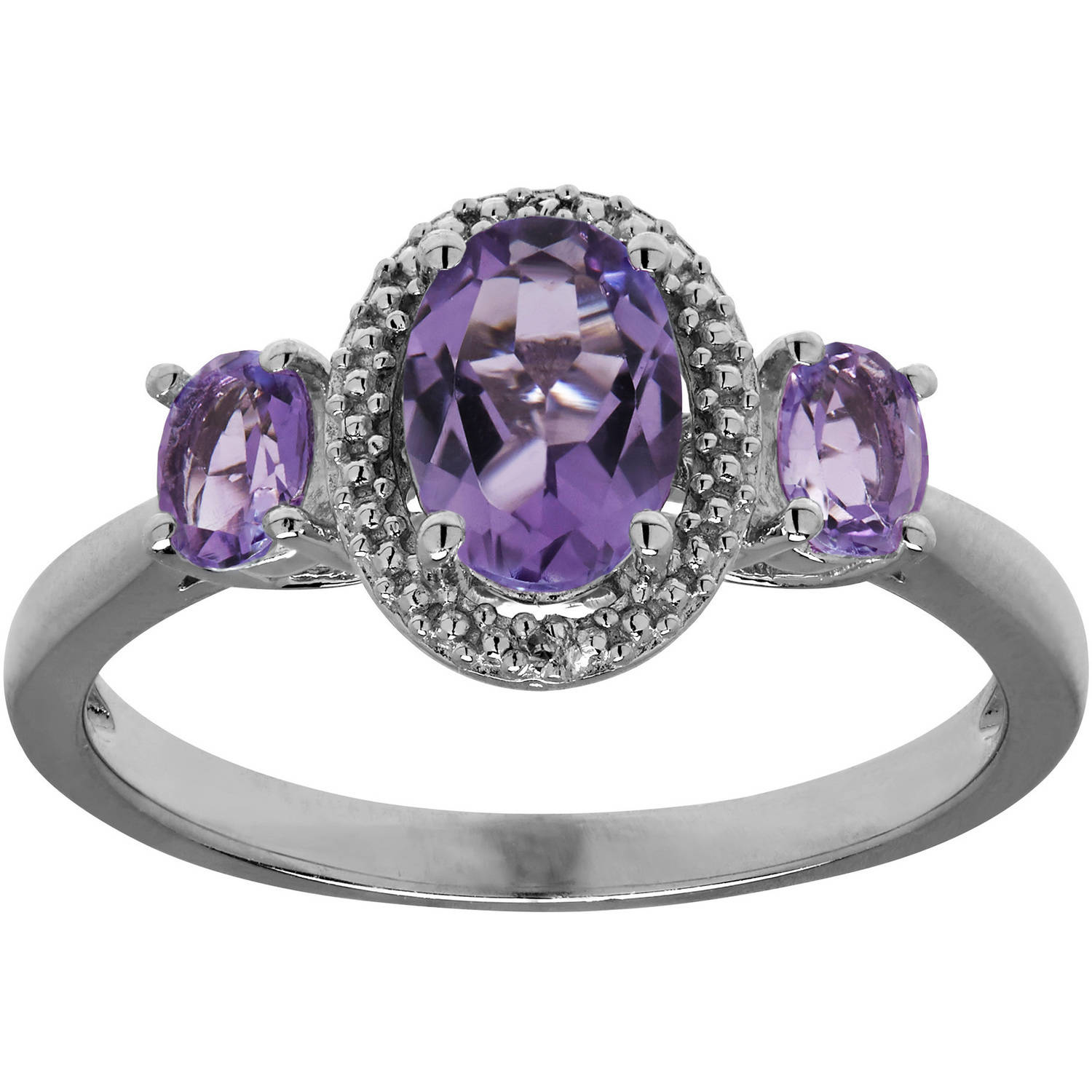 Amethyst and Diamond Accent Sterling Silver Ring, Size 7