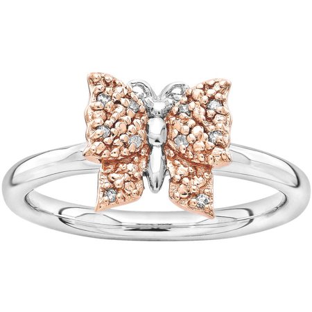 46e11799eb572 Diamond Sterling Silver and Rose Gold-Plated Butterfly Ring