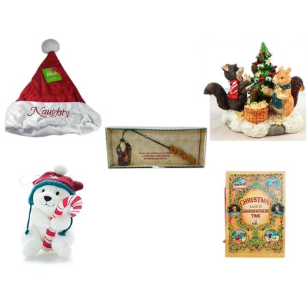 Christmas Fun Gift Bundle [5 Piece] - Be Jolly Embroidered Naughty Nice Santa Hat 17