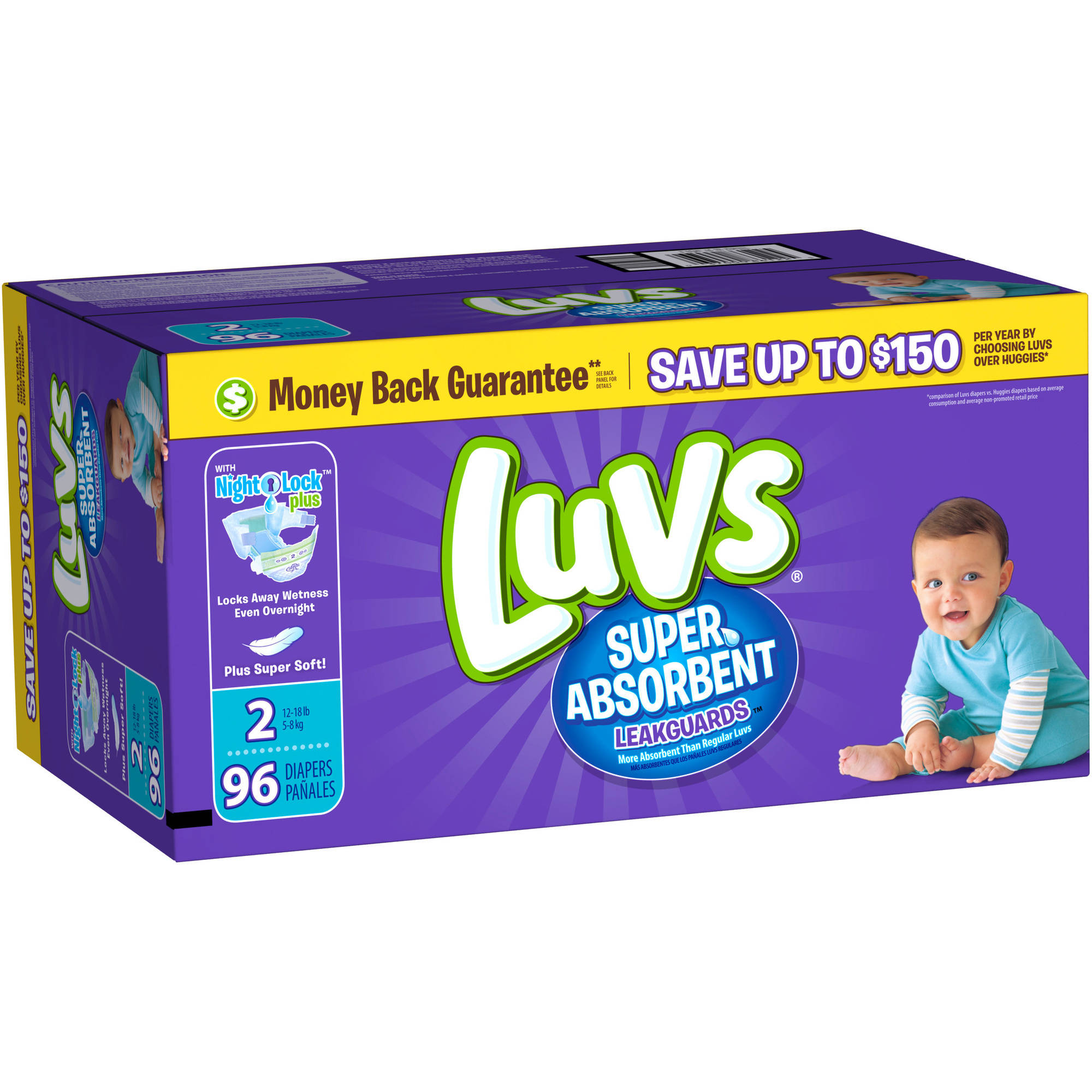 Luvs Super Absorbent Leakguards Diapers, Size 2 (Choose Diaper Count)