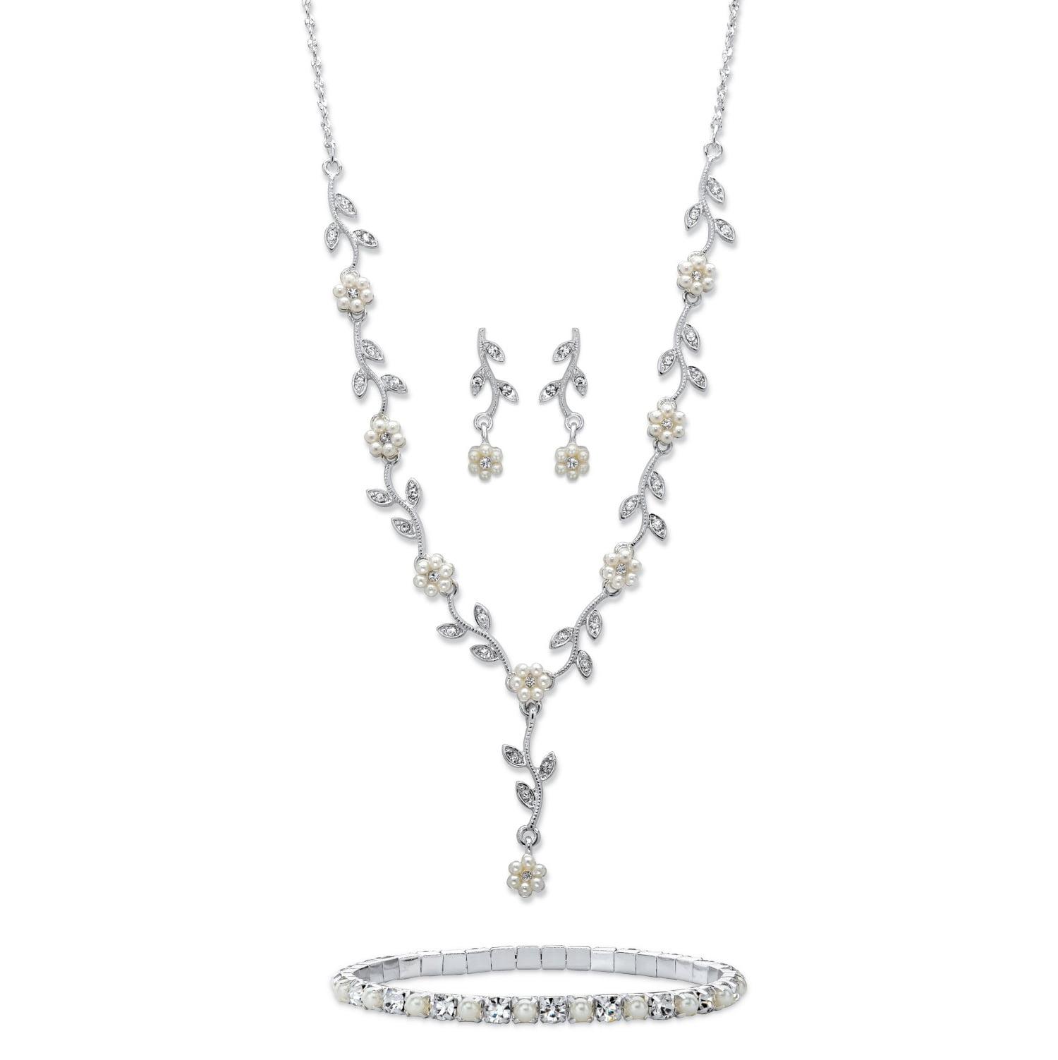 17+3 Simulated Cream Pearl 3-Row Silver Tone Necklace