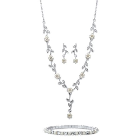 (Simulated Pearl and Crystal 3-Piece Floral Vine Earrings, Drop Necklace and Stretch Bracelet in Silvertone 17