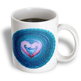 Dark Blue Crystal - 3dRose Shrimp on a Dark Blue Crystal Bowl, Ceramic Mug, 11-ounce