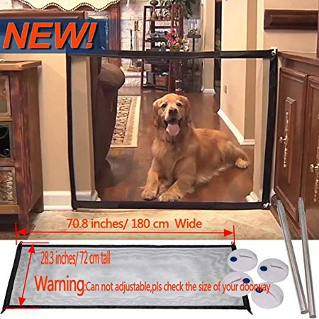 Magic Gate Portable Folding Safe Guard Fences Pet Dog Safety Barrier Install Anywhere,Animals Favorite Pet Retractable Safety (Dog Barrier Gate)
