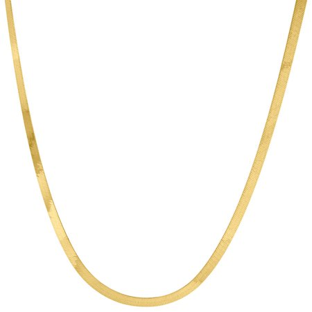 10k Yellow Gold Solid Necklace Silky Herringbone 2.75mm Chain 16 Inches - Spiral Herringbone