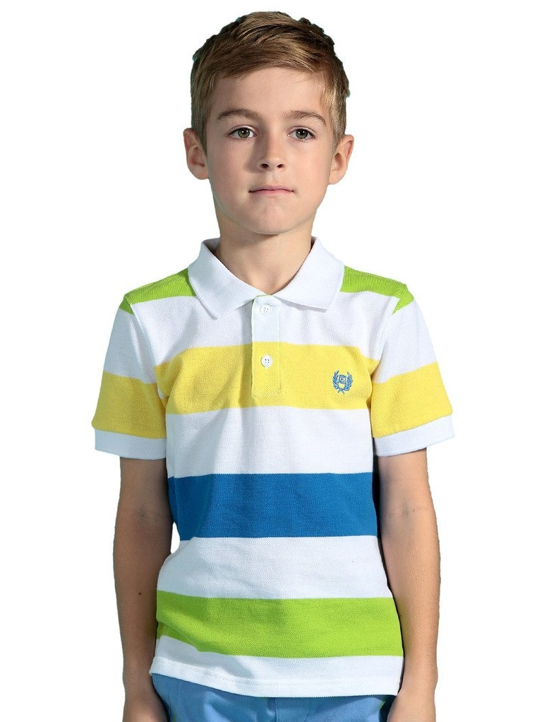 Leo&Lily Boys' Short Sleeve Yarn Dyed Stripe Rugby Polo Shirt