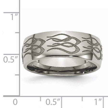 Titanium 8mm Laser Design Wedding Ring Band Size 10.00 Designed Fashion Jewelry For Women Gifts For Her - image 8 of 10