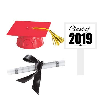 Graduation Cake Topper (Red Mini Graduation Hat Cake Decoration Topper with Sign and)