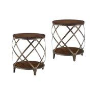 Set Of 2 Drum Barrel Shape End Tables In Red Wood